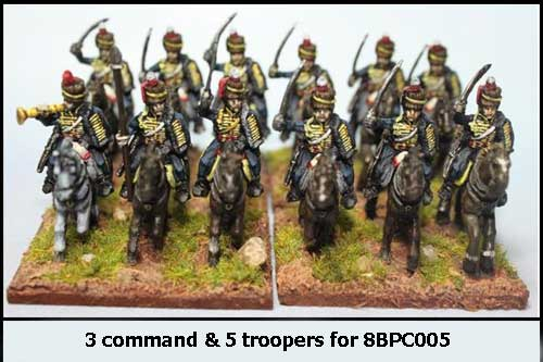 Peninsular British / KGL Hussars Charging x 8 with Command