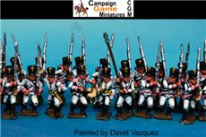 German Infantry in Shako Marching  (3 Command & 9 soldiers in 12 figure pack)