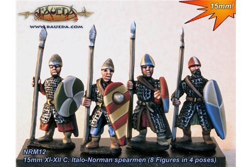 XI-XII C. Norman armoured Pedites or dismounted Milites with spear