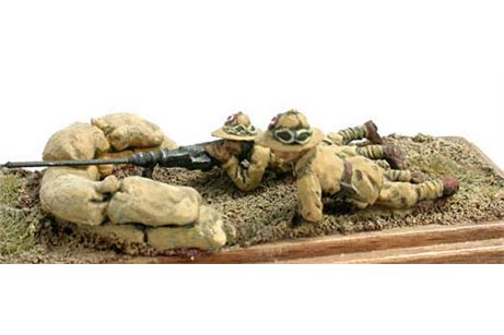 Infantrymen with Solothurn anti tank gun and post.