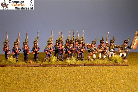 Light Infantry Marching 1800-1807. Side plume, hussar gaiters.