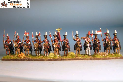 Polish Lancers  at Rest, Elites in Colpack with command