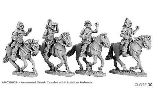 Armoured Greek Cavalry with Boiotian helmets (random 4 of 4 designs)