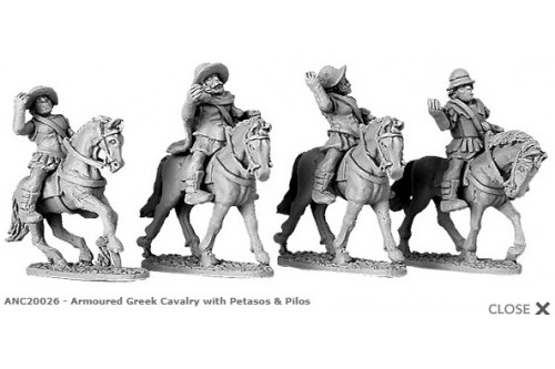 Armoured Greek Cavalry with Petasos & Pilos (random 4 of 4 designs)