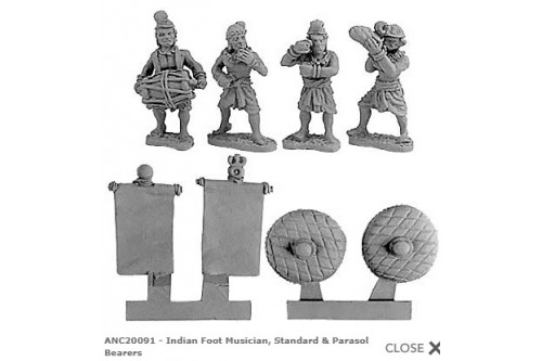 Indian Foot Musicians, Standard & Parasol Bearers  (Random 8 of 4 designs)