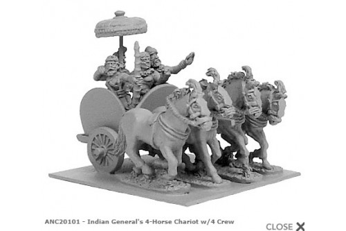 Indian General''s 4-horsed chariot w/ 4 crew'