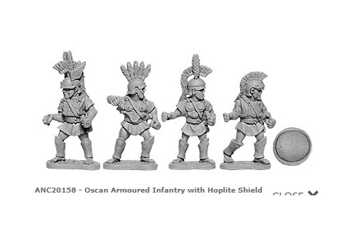 Oscan Armoured Infantry w/Hoplite Shields (random 8 of 4 designs)